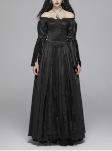 Flocking Lace Splice Positioning Sequins Embroidery Mesh Off-Shoulder Lace Cuff Back Lace-Up Black Gothic Maxi Dress