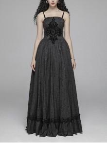 Black Jacquard Front Chest Flocking Decals Large Skirt Pendulum Velvet Lace Frill Hem Black Gothic Sling Dress