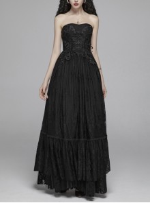Positioning Flowers Lace Front Big Stereo Decal Back Waist Lace-Up Black Gothic Long Sling Dress