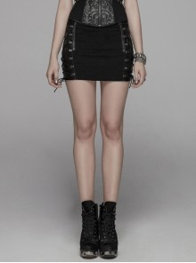 Front Zippers Side Splice Taped Woven Lace-Up Black Punk Tight Skirt