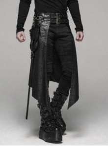 Metal Buckle Belt Side Pocket D-Buckle Leather Straps Sharp Corners Hem Black Punk Kilt
