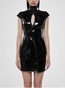 Patent Leather High Collar Chest Hollow-Out Asymmetric Front Panel Back Lace-Up Black Punk Chinese Style Tight Dress