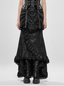 Gorgeous Dark Floral Imitation Suede Metal Buckle Leather Loop Frill Hem Black Punk Tight Fishtail Skirt