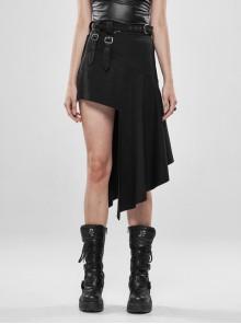 Metal Buckle Belt Hollow-Out Metal Rings Hasp Irregular Hem Black Punk Knit Skirt