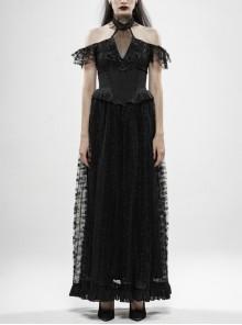 V-Neck Off-Shoulder Chest Splice Mesh Lace Cuff Pleated Hem Black Gothic Halter Long Dress