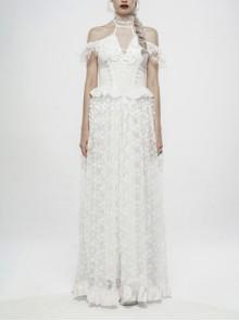 V-Neck Off-Shoulder Chest Splice Mesh Lace Cuff Pleated Hem White Gothic Halter Long Dress