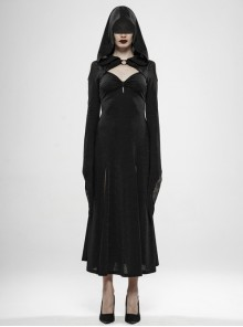 Front Chest Hollow-Out Braided Strap Metal Buckle Irregular Cutting The Cuff Black Gothic Slit Hooded Tight Dress