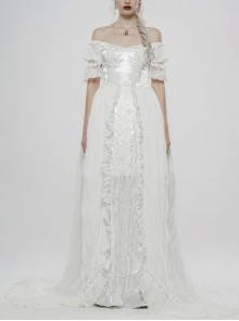 Off-Shoulder Front Chest Decals Back Waist Lace-Up Oversize Pendulum Backswing Mop White Gothic Chiffon Dress