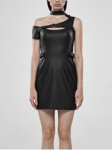 Off-Shoulder Front Chest Hollow-Out Irregular Metal Buckle Strap Side Hasp Black Punk Imitation Leather Knit Dress