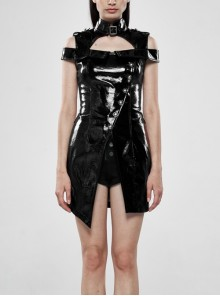 High Collar Metal Hasp Front Metal Buttons Back Waist Lace-Up Black Punk Patent Leather Slit Dress