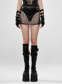 Shiny Cyber Woven Hollow-Out Black Punk Short Skirt