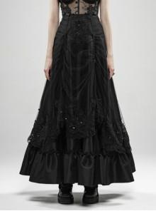 Front Waist Decal Back Lace-Up Upper Mesh Hem Wide Lotus Leaf Edge Hem Black Gothic Mist Skirt
