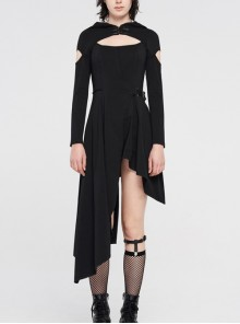 Metal Buckle Collar Front Chest Hollow-Out Slit Long Sleeves Waist Hasp Asymmetric Hem Black Gothic Hooded Knit Dress