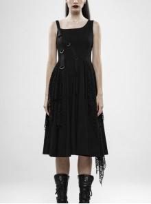 Off-Shoulder Metal Buckle Strap Metal D-Buckle Bandage Splice Irregular Dark Mesh Black Punk Knit Dress