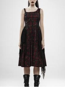 Off-Shoulder Metal Buckle Strap Metal D-Buckle Bandage Splice Irregular Dark Mesh Black And Red Plaid Punk Knit Dress