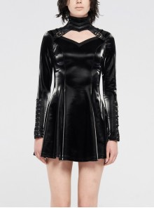 High Collar Chest Hollow-Out Metal Hasp Long Sleeves Eyelets Lace-Up Black Punk Imitation Sharkskin Knit Short Dress