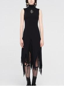 High Collar Chest Embroidery Sleeveless Irregular Lace Hem Black Punk Knit Long Dress