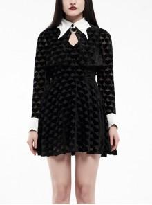 White Bat Shape Collar Moon Pendant Chest Hollow-Out Fake Two Pieces Small Cloak Black Peach Heart Print Gothic Velvet Dress