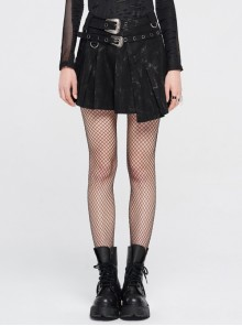 Metal Buckle Belt Metal Eyelets Loop Decoration Irregular Hem Black Print Punk Skirt