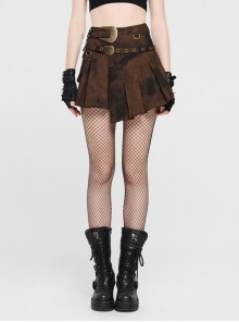 Metal Buckle Belt Metal Eyelets Loop Decoration Irregular Hem Brown Print Punk Skirt