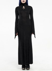 High Collar Front Chest Hollow-Out Embroidery Flare Sleeves Back Waist Lace-Up Black Gothic Knitted Jacquard Long Dress