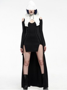 White Hood Metal Buttons Off-Shoulder Chest Hollow-Out Metal Eyelets Lace-Up Flare Sleeves Black Gothic Dress