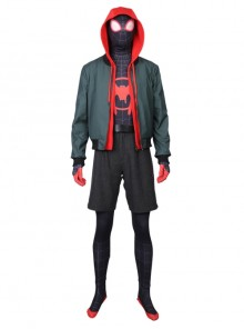 Spider-Man Into The Spider-Verse Spider-Man Miles Morales Halloween Cosplay Costume Male Version Hoodie Full Set Without Bodysuit