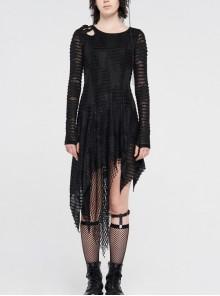 Snake-Scale Broken Holes Shoulder Hollow-Out Leather Hasp Long Sleeves Irregular Mesh Hem Black Punk Dress
