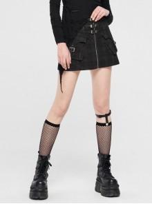 Front Metal Buckle Zipper Pockets Black Punk Camouflage Plaid A-Shaped Short Skirt