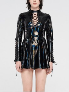High Collar Front Chest Hollow-Out Lace-Up Long Sleeves Black Punk Shiny PU Leather Knitting Short Dress