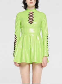 High Collar Front Chest Hollow-Out Lace-Up Long Sleeves Fluorescent Green Punk Shiny PU Leather Knitting Short Dress