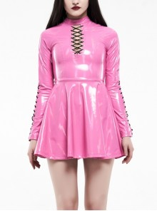 High Collar Front Chest Hollow-Out Lace-Up Long Sleeves Fluorescent Pink Punk Shiny PU Leather Knitting Short Dress
