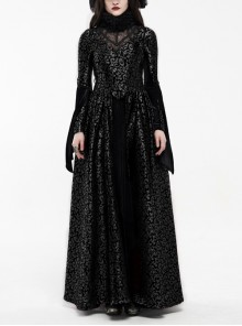 Jacquard Fur Collar Front Collar Lace Ribbon Long Sleeves Back Waist Lace-Up Black Gothic Long Dress