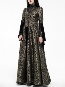 Jacquard Fur Collar Front Collar Lace Ribbon Long Sleeves Back Waist Lace-Up Black And Gold Gothic Long Dress