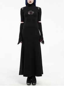 High Collar Shoulder Splice Mesh Front Chest Hollow-Out Lace Embroidery Slit Long Sleeve Lace Cuff Black Gothic  Tight Long Dress
