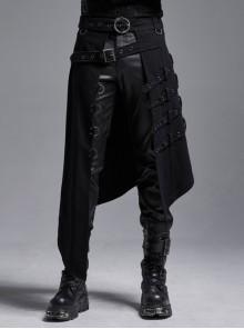 Black Twill Metal Buckle Belt Metal Rings Hasp Back Pocket Asymmetric Hem Black Punk Kilt
