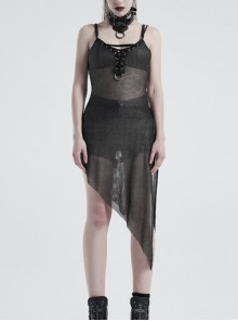 V-Neck Metal Eyelets Lace-Up Open Fork Tilt Hem Silver Punk Press Glue Mesh Sling Dress