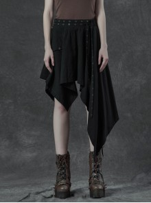 Metal Eyelets Strap Ghost Head Nail Asymmetric Hem Black Punk Striped Jacquard Skirt