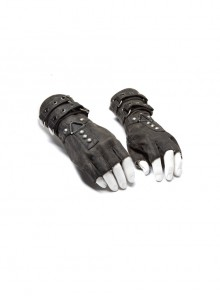 Metal Buckles Loop Zipper Decoration Grey Punk PU Leather Gloves
