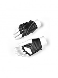 Metal Zipper Cross-Section Wrapped Black Punk PU Leather Gloves