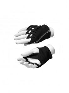 Metal Zipper Cross-Section Wrapped Black Punk Knit Gloves