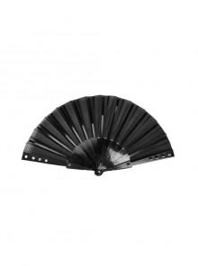 Side Rivet Decoration Lightweight Cloth Black Punk Fan