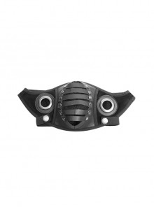 Metal Ring Decoration Rubber Strip Imitation Suede Black Punk Mask