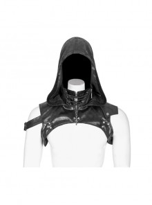 Metal Buckle Strap Lace-Up Collar Black Punk Hooded Accessory