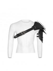 One-Shoulder Metal Buckle Strap Sharp Cone Nails Black Punk Armor Accessory