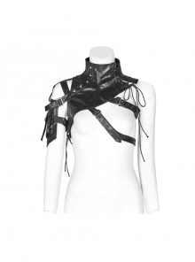 Buckle-On Lace-Up High Collar Metal Eyelets Strap Black Punk Shoulder Accessory