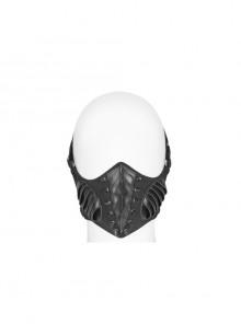 Metal Buckle Elastic Band Sharp Cone Nails Black Punk PU Leather Mask