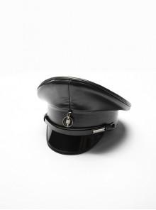 Front Center Metal Pendant Black Punk PU Leather Texture Hat