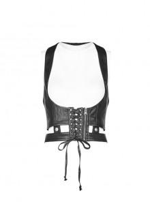 Front Lace-Up Zipper Back Metal Buckle Strap Black Punk Accessories