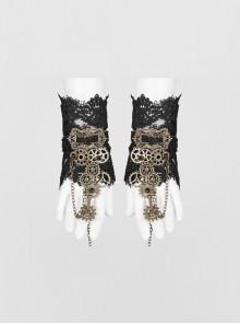 Metal Gear Decorative Retro Button Metal Chain Black Punk Gloves
